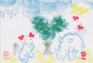 ハートの木のしたで、ラブラブ中なんです。消しゴムはんこをペタペタやってます。